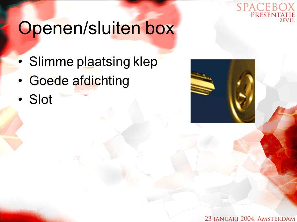 Openen/sluiten box Slimme plaatsing klep Goede afdichting Slot