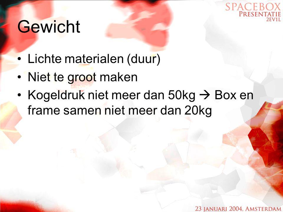 Gewicht Lichte materialen (duur) Niet te groot maken Kogeldruk niet meer dan 50kg  Box en frame samen niet meer dan 20kg