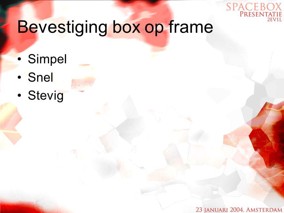 Bevestiging box op frame Simpel Snel Stevig