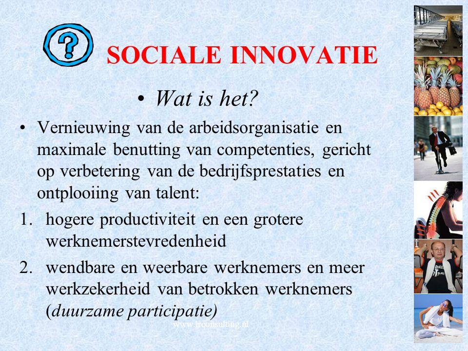SOCIALE INNOVATIE Wat is het? Vernieuwing van de arbeidsorganisatie en maximale benutting van competenties, gericht op verbetering van de bedrijfspres