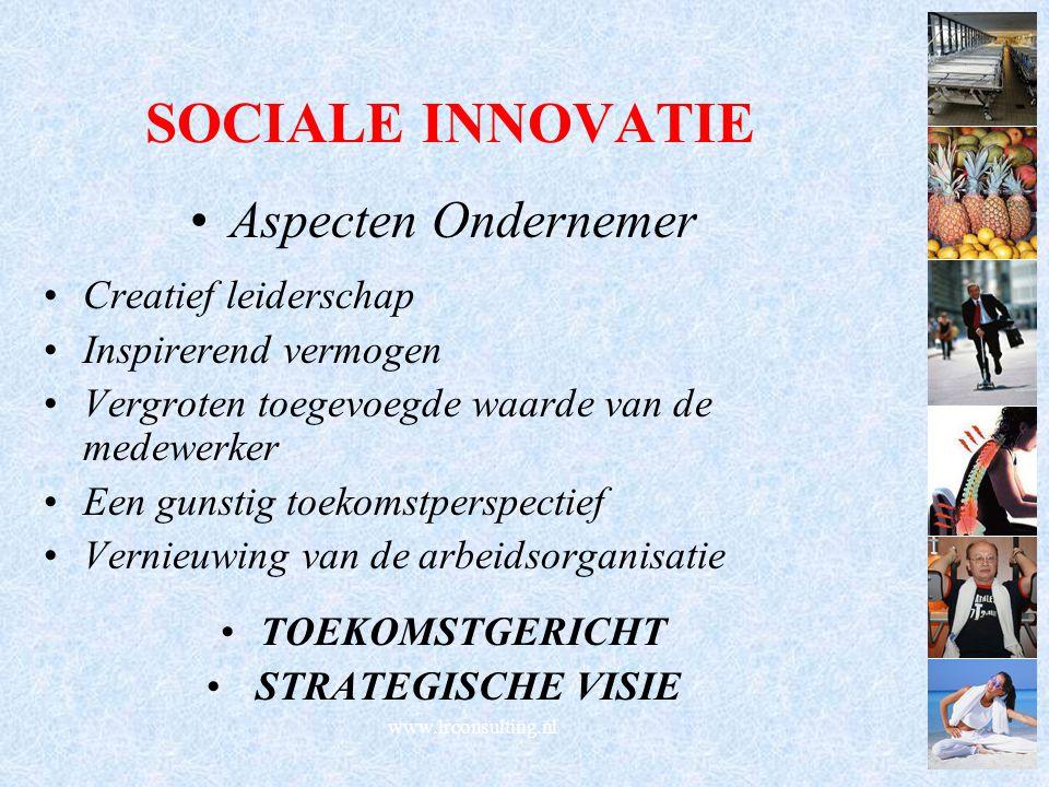 SOCIALE INNOVATIE Aspecten Ondernemer Creatief leiderschap Inspirerend vermogen Vergroten toegevoegde waarde van de medewerker Een gunstig toekomstper