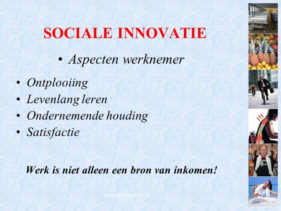 SOCIALE INNOVATIE Aspecten werknemer Ontplooiing Levenlang leren Ondernemende houding Satisfactie Werk is niet alleen een bron van inkomen! www.lrcons
