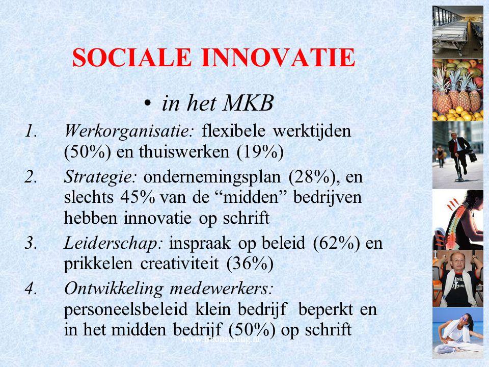 SOCIALE INNOVATIE in het MKB 1.Werkorganisatie: flexibele werktijden (50%) en thuiswerken (19%) 2.Strategie: ondernemingsplan (28%), en slechts 45% va