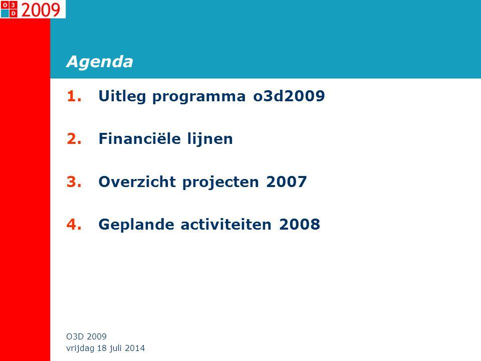 vrijdag 18 juli 2014 O3D 2009 Agenda 1.Uitleg programma o3d2009 2.Financiële lijnen 3.Overzicht projecten 2007 4.Geplande activiteiten 2008