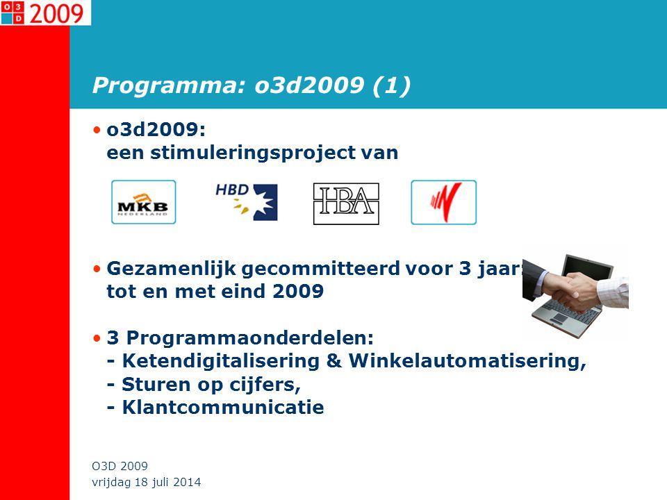 vrijdag 18 juli 2014 O3D 2009 Programma: o3d2009 (2) Ketendigitalisering: ICT inzetten om de goederen-, informatie- en geldstromen binnen en tussen opeenvolgende schakels te managen Sturen op cijfers: ICT inzetten om ondernemers te voorzien van de juiste stuurinformatie uit de eigen informatiesystemen (marktcijfers, kengetallen, bedrijfsrapportage) Klantcommunicatie: ICT inzetten bij bedrijfsactiviteiten die van belang zijn voor direct contact met (potentiële) klanten om zo het verzamelen en gebruik van klantinformatie te stimuleren en klantenbinding te verkrijgen