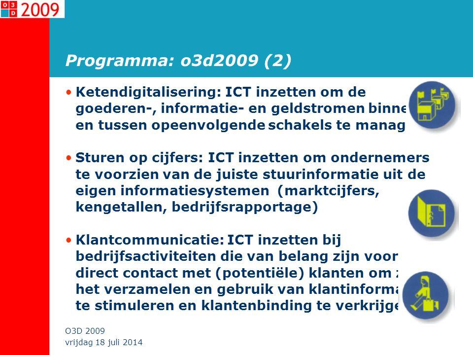 vrijdag 18 juli 2014 O3D 2009 o3d2009: Financiering KetenSturen op cijfersKlantcommunicatie EZ*x HBDxxx HBAxx SODxx Financiering is aangegaan tot en met 2009 en bedraagt € 1.45 mln.