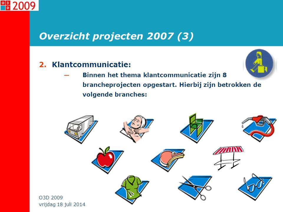 vrijdag 18 juli 2014 O3D 2009 Overzicht projecten 2007 (3) 2.Klantcommunicatie: —Binnen het thema klantcommunicatie zijn 8 brancheprojecten opgestart.