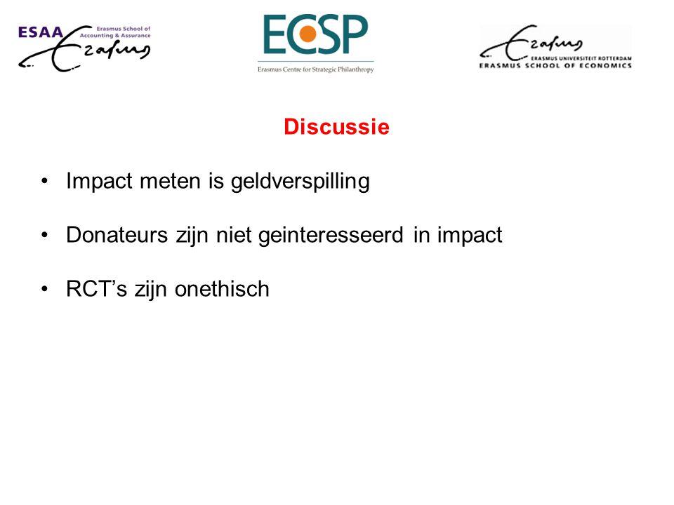 Discussie Impact meten is geldverspilling Donateurs zijn niet geinteresseerd in impact RCT's zijn onethisch