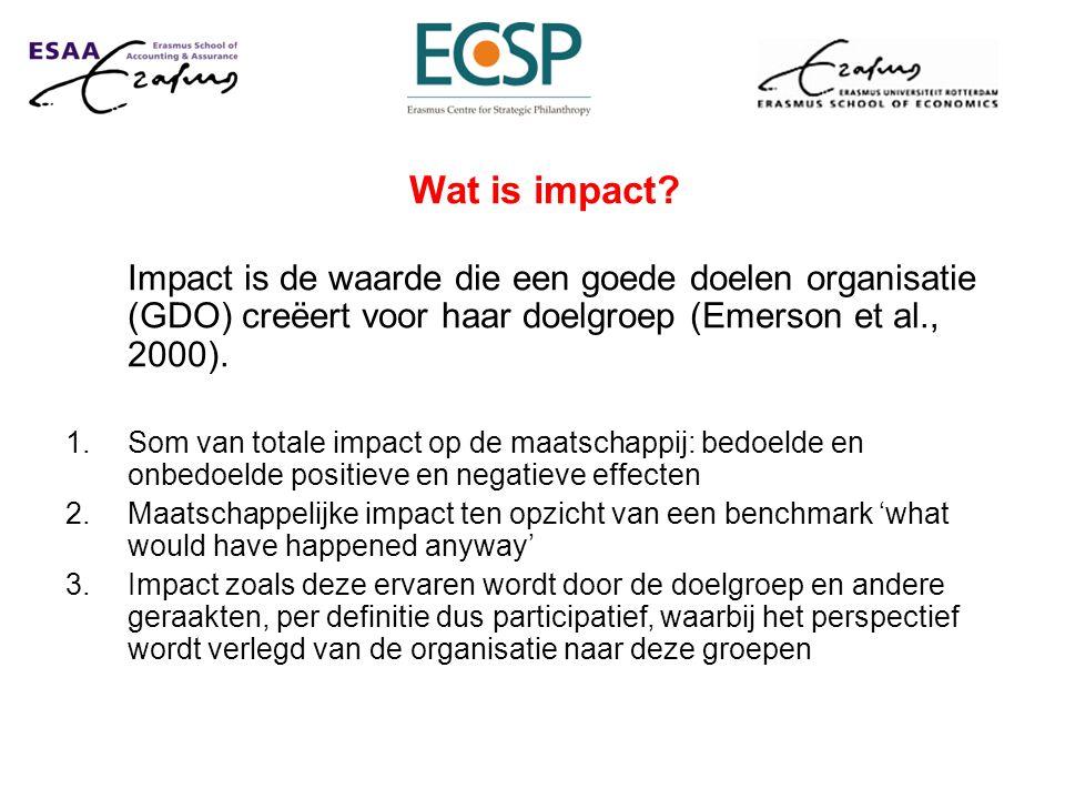 Wat is impact? Impact is de waarde die een goede doelen organisatie (GDO) creëert voor haar doelgroep (Emerson et al., 2000). 1.Som van totale impact