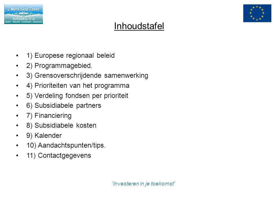 1)Europees regionaal beleid Drie doelstellingen : - Convergentie - Concurrentievermogen - Europese territoriale samenwerking = INTERREG INTERREG IVA: grensoverschrijdende samenwerking: –Streven naar oplossingen om over de grenzen heen vlotter te kunnen samenwerken –Doelstelling: grensoverschrijdende socio-economische ontwikkeling bevorderen en belemmeringen aan grenzen wegwerken INTERREG IVB: transnationale samenwerking: –Samenwerking op grotere schaal –Doelstelling: een betere ruimtelijke integratie in de Europese Unie om trans- Europese regio's te ontwikkelen INTERREG IVC: interregionale samenwerking: –Kennis en ervaringen uitwisselen in de hele EU –Doelstelling: netwerken opzetten voor het uitwisselen van goede praktijken en ervaringen om zo de know how voor regionale ontwikkeling op Europees niveau te benutten 'Investeren in je toekomst'
