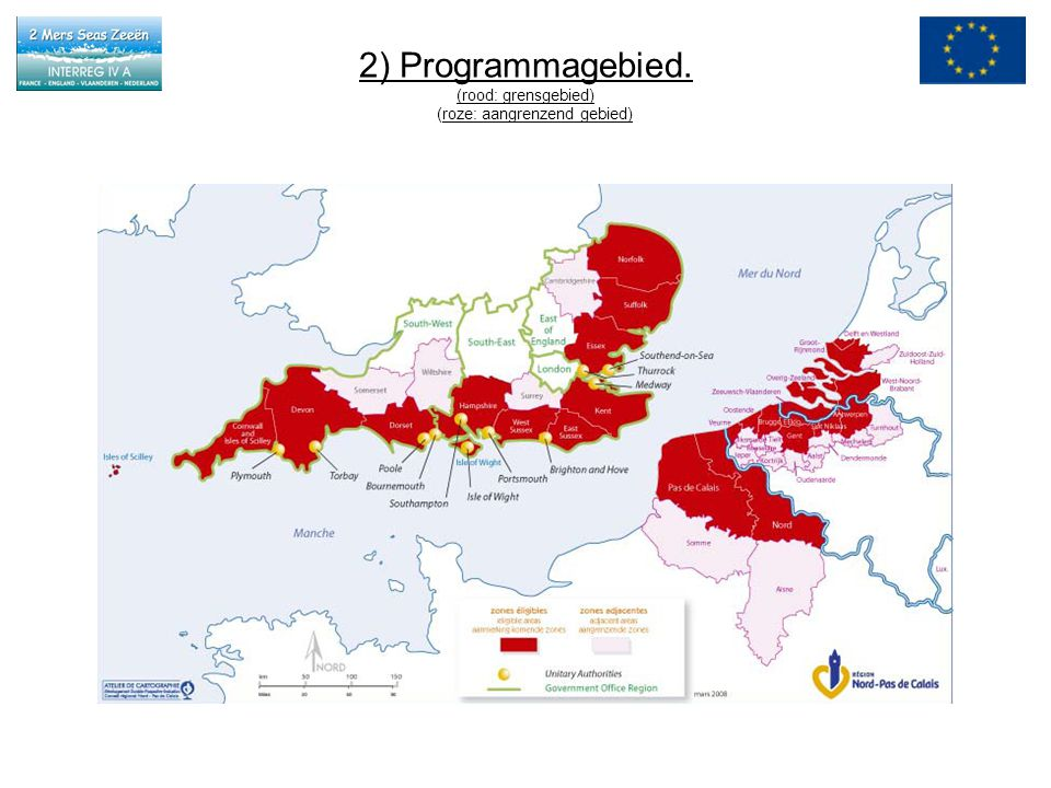 2) Programmagebied. (rood: grensgebied) (roze: aangrenzend gebied)