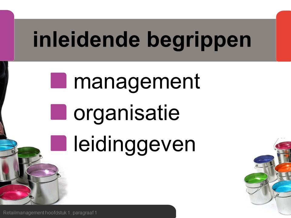 begrip management Retailmanagement hoofdstuk 1, paragraaf 1 Management omvat alle activiteiten die door de leidinggevende worden verricht om de organisatie haar doelstellingen te laten realiseren.