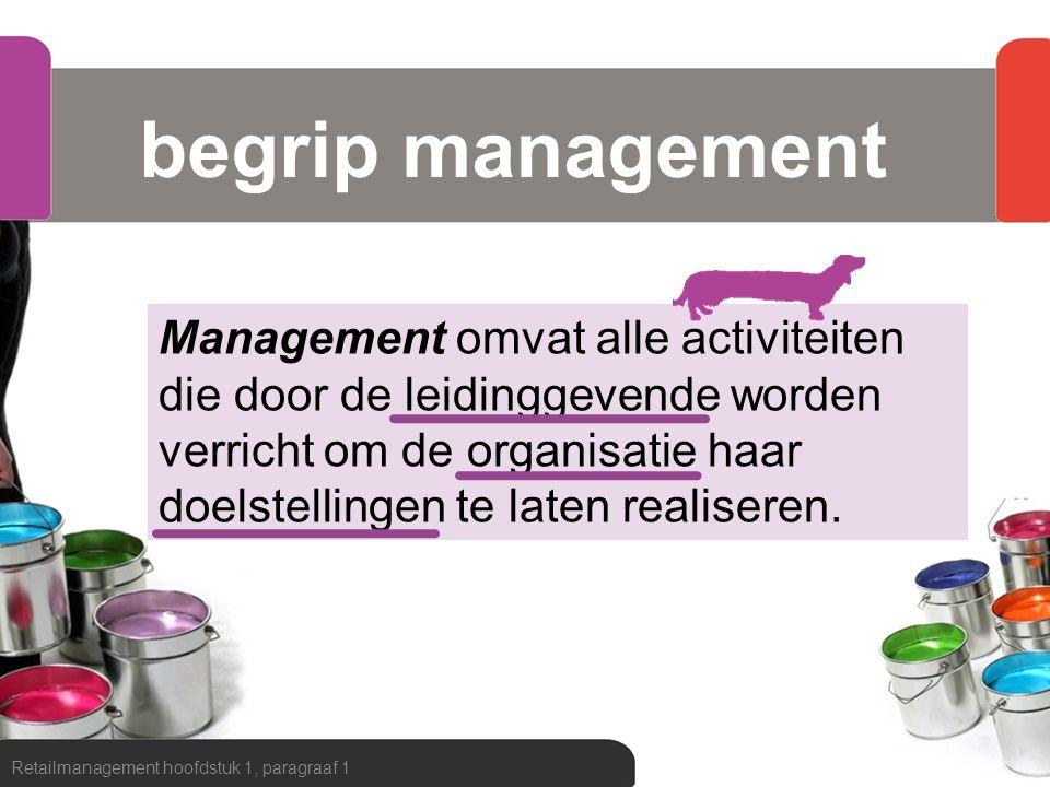 begrip management Retailmanagement hoofdstuk 1, paragraaf 1 Management omvat alle activiteiten die door de leidinggevende worden verricht om de organi