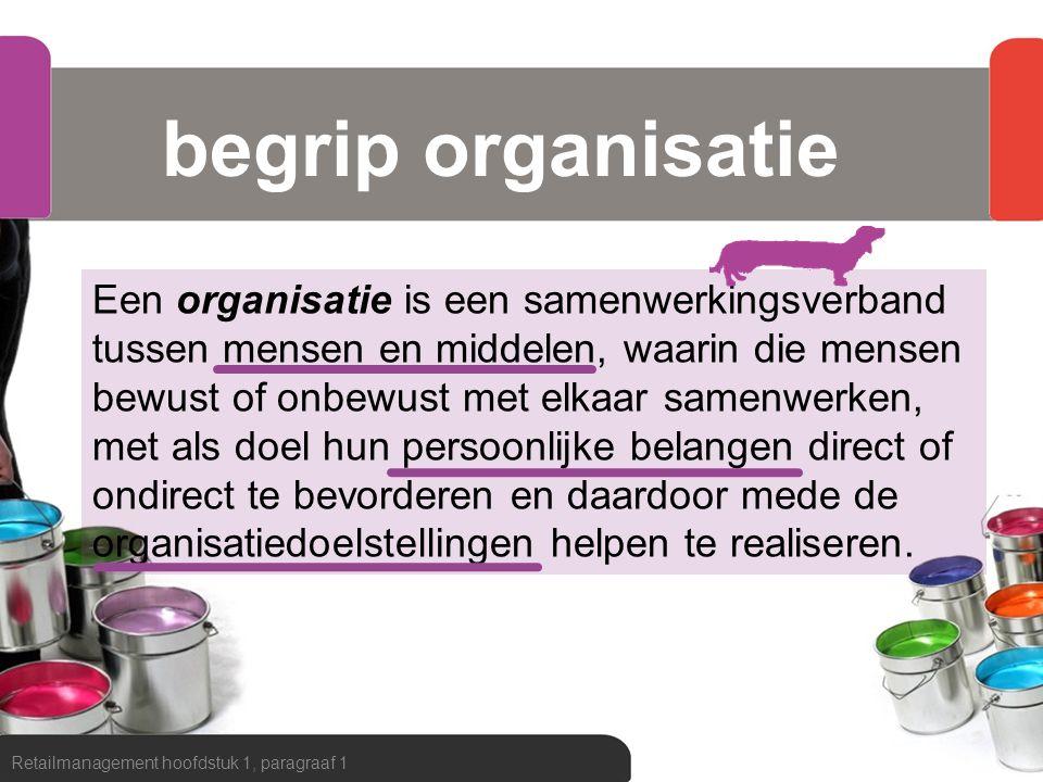 begrip organisatie Retailmanagement hoofdstuk 1, paragraaf 1 Een organisatie is een samenwerkingsverband tussen mensen en middelen, waarin die mensen