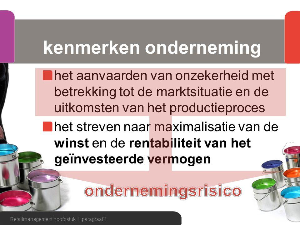 kenmerken onderneming het aanvaarden van onzekerheid met betrekking tot de marktsituatie en de uitkomsten van het productieproces het streven naar max