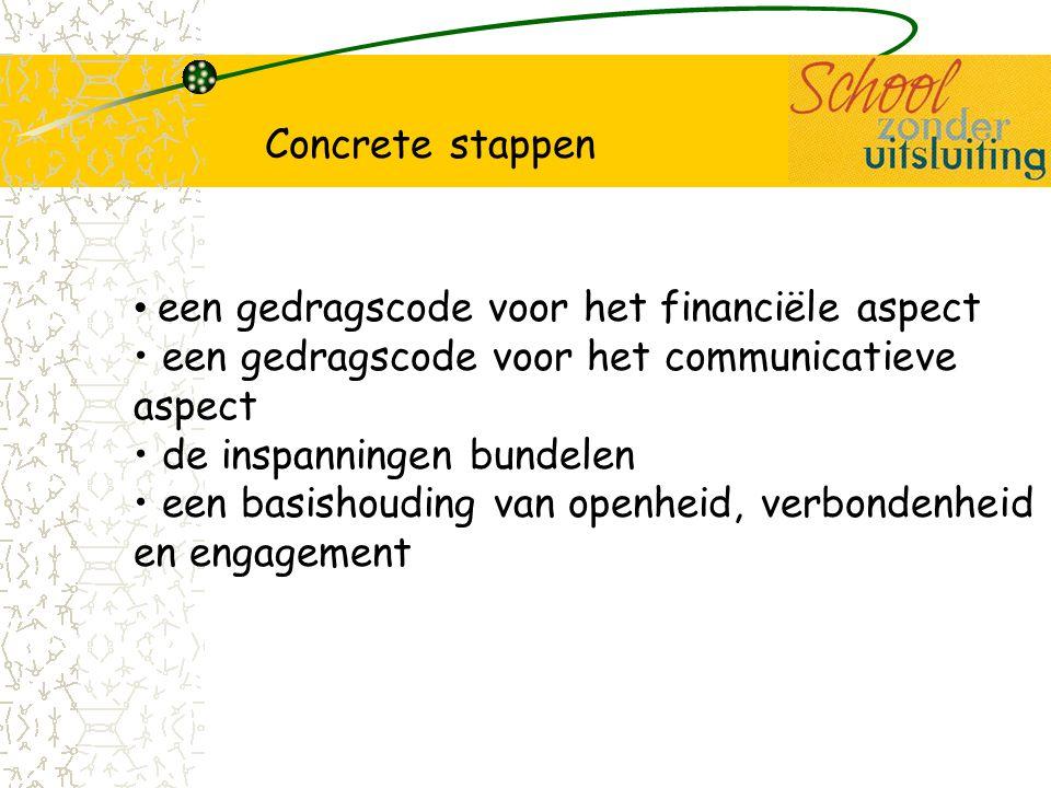 een gedragscode voor het financiële aspect een gedragscode voor het communicatieve aspect de inspanningen bundelen een basishouding van openheid, verb