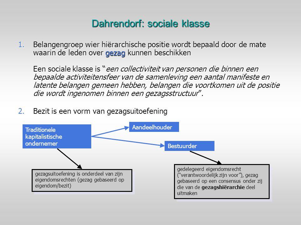 Dahrendorf: sociale klasse 1.Belangengroep wier hiërarchische positie wordt bepaald door de mate waarin de leden over gezag kunnen beschikken Een soci