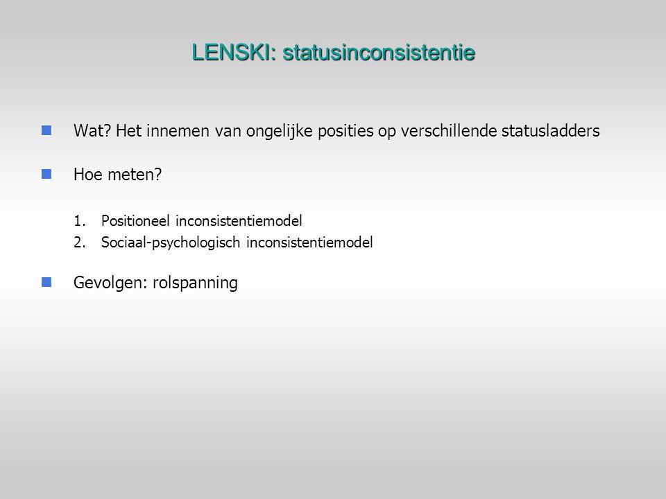LENSKI: statusinconsistentie Wat? Het innemen van ongelijke posities op verschillende statusladders Wat? Het innemen van ongelijke posities op verschi