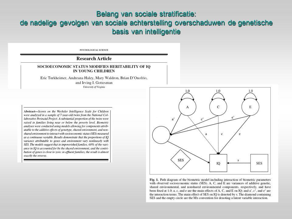 Belang van sociale stratificatie: de nadelige gevolgen van sociale achterstelling overschaduwen de genetische basis van intelligentie