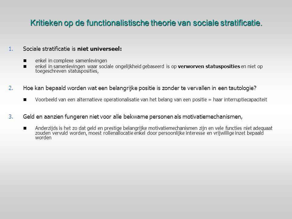 Kritieken op de functionalistische theorie van sociale stratificatie. 1. 1.Sociale stratificatie is niet universeel: enkel in complexe samenlevingen e
