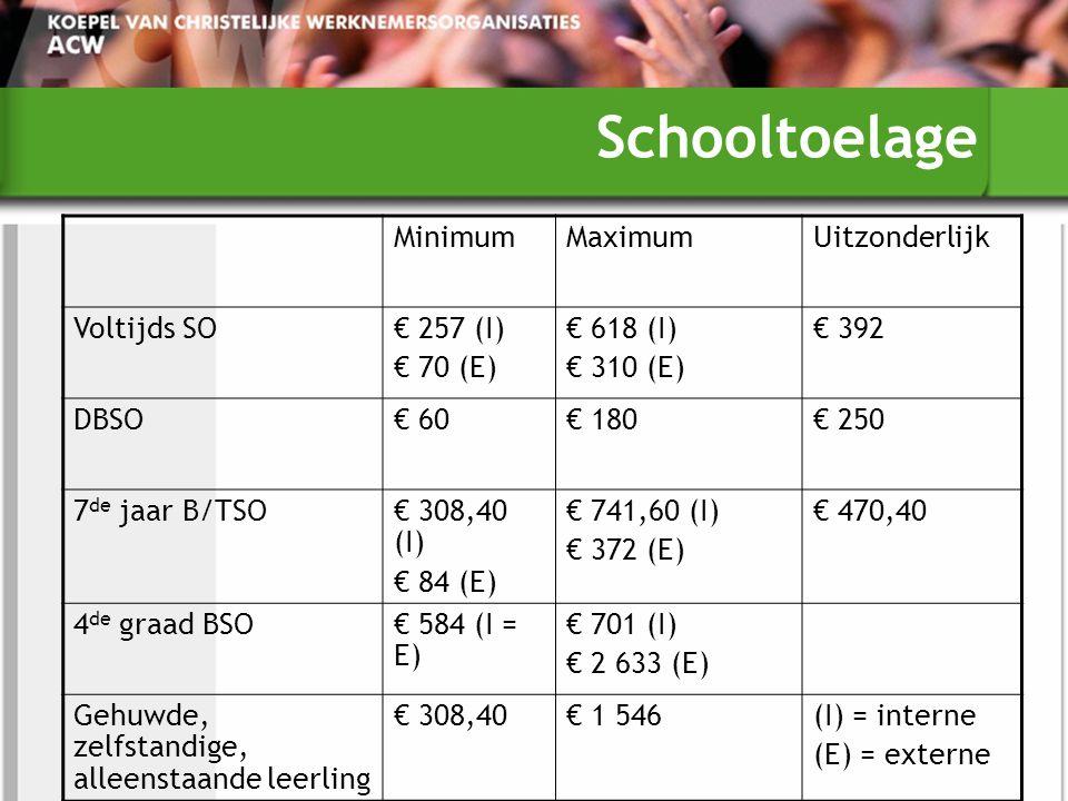 Schooltoelage MinimumMaximumUitzonderlijk Voltijds SO€ 257 (I) € 70 (E) € 618 (I) € 310 (E) € 392 DBSO€ 60€ 180€ 250 7 de jaar B/TSO€ 308,40 (I) € 84 (E) € 741,60 (I) € 372 (E) € 470,40 4 de graad BSO€ 584 (I = E) € 701 (I) € 2 633 (E) Gehuwde, zelfstandige, alleenstaande leerling € 308,40€ 1 546(I) = interne (E) = externe