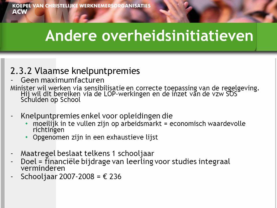 Andere overheidsinitiatieven 2.3.2 Vlaamse knelpuntpremies -Geen maximumfacturen Minister wil werken via sensibilisatie en correcte toepassing van de regelgeving.