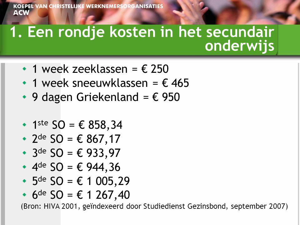 1. Een rondje kosten in het secundair onderwijs 1 week zeeklassen = € 250 1 week sneeuwklassen = € 465 9 dagen Griekenland = € 950 1 ste SO = € 858,34