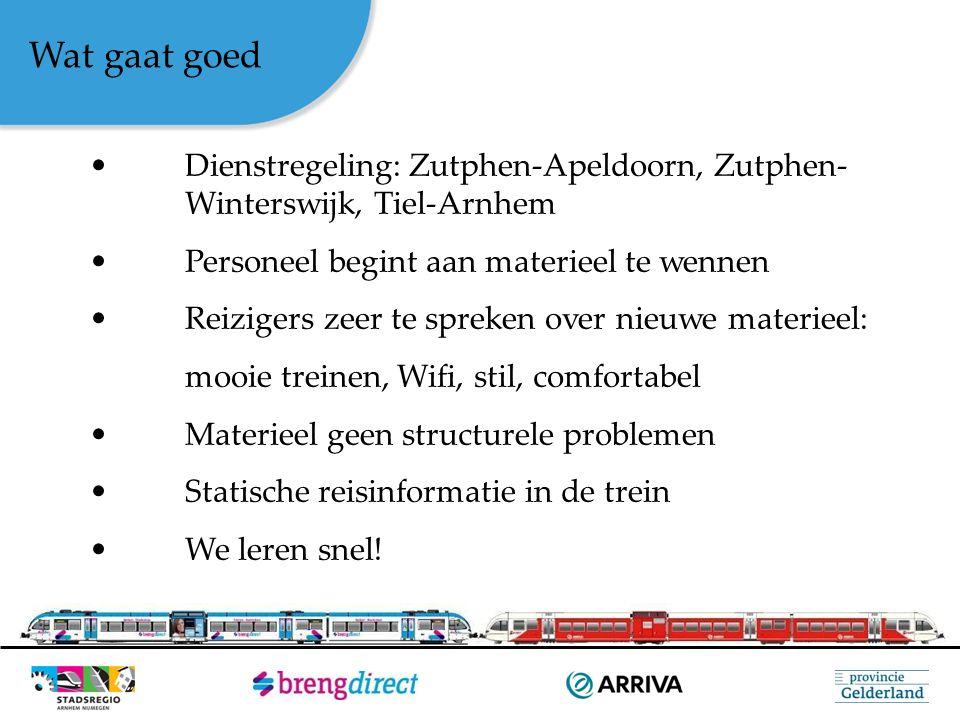 Wat gaat goed Dienstregeling: Zutphen-Apeldoorn, Zutphen- Winterswijk, Tiel-Arnhem Personeel begint aan materieel te wennen Reizigers zeer te spreken