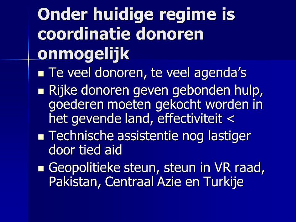 Onder huidige regime is coordinatie donoren onmogelijk Te veel donoren, te veel agenda's Te veel donoren, te veel agenda's Rijke donoren geven gebonde