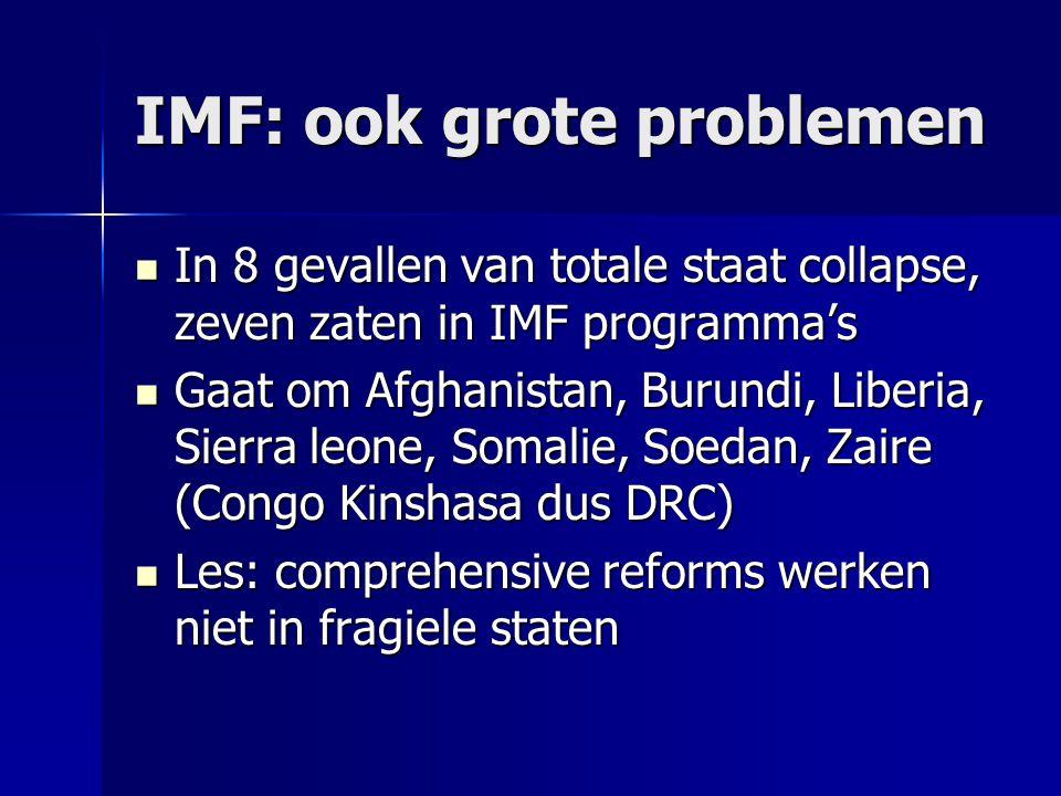 IMF: ook grote problemen In 8 gevallen van totale staat collapse, zeven zaten in IMF programma's In 8 gevallen van totale staat collapse, zeven zaten