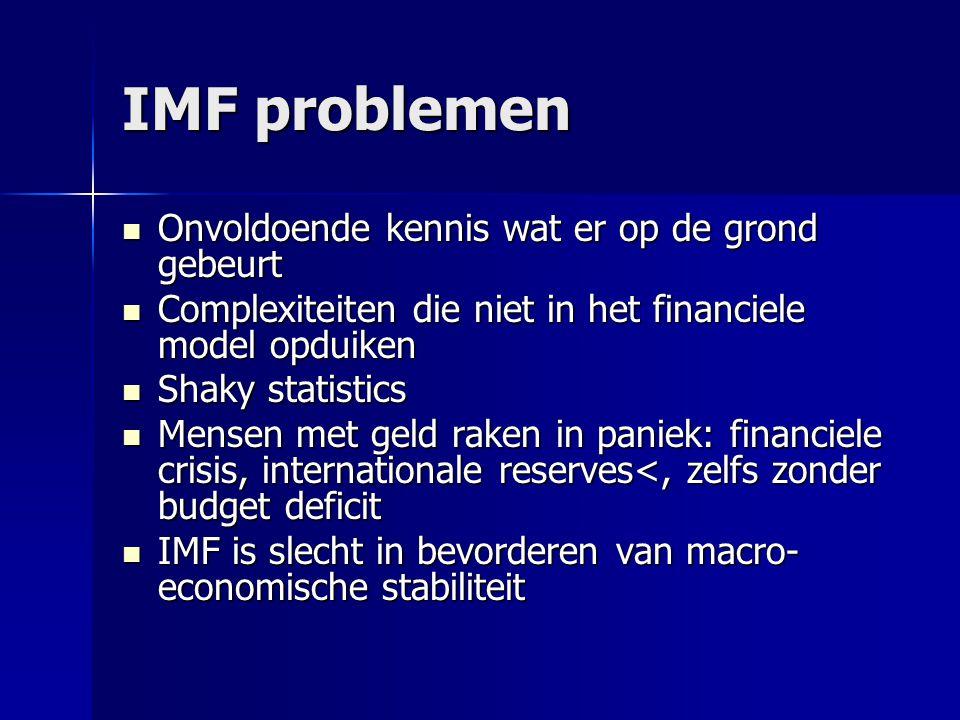 IMF problemen Onvoldoende kennis wat er op de grond gebeurt Onvoldoende kennis wat er op de grond gebeurt Complexiteiten die niet in het financiele mo