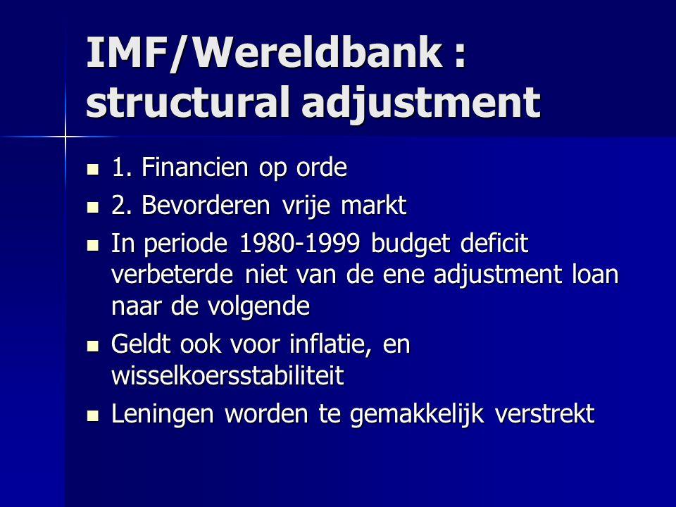 IMF/Wereldbank : structural adjustment 1. Financien op orde 1. Financien op orde 2. Bevorderen vrije markt 2. Bevorderen vrije markt In periode 1980-1