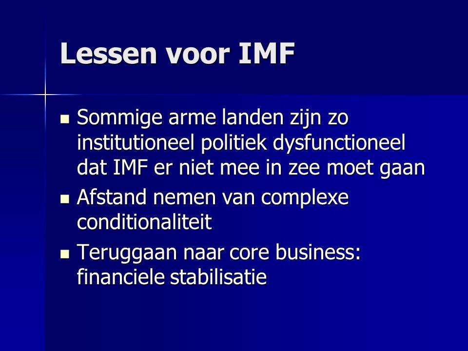 Lessen voor IMF Sommige arme landen zijn zo institutioneel politiek dysfunctioneel dat IMF er niet mee in zee moet gaan Sommige arme landen zijn zo in