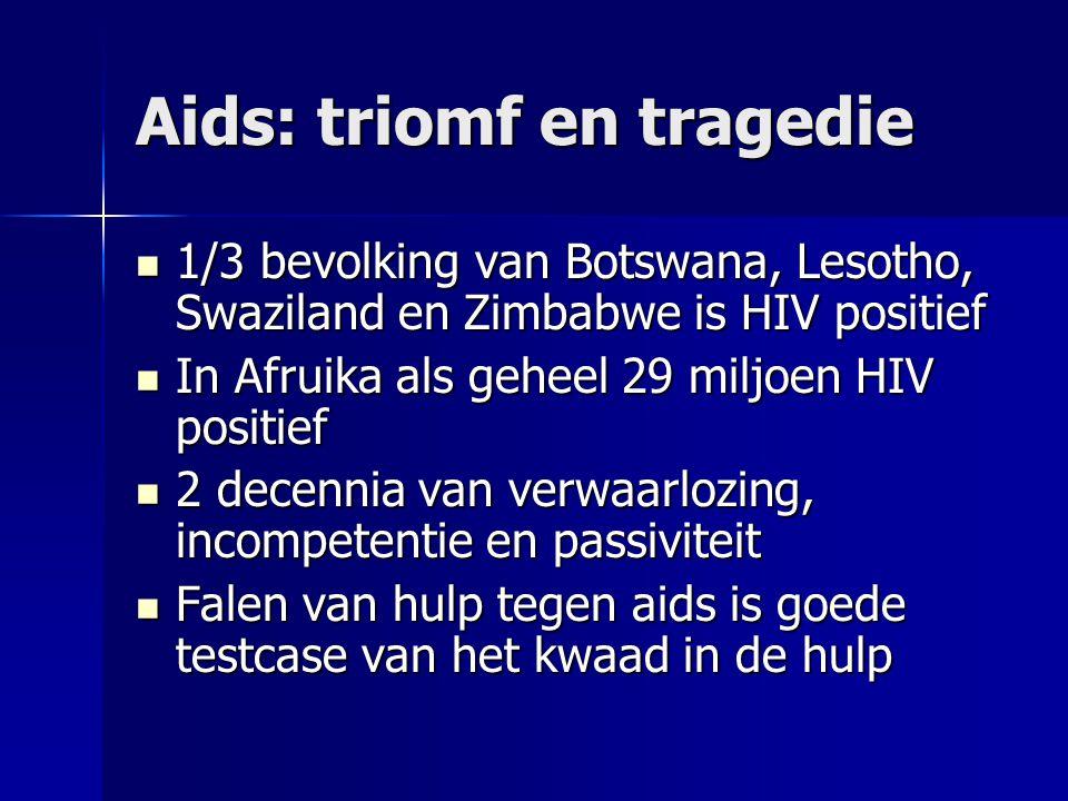 Aids: triomf en tragedie 1/3 bevolking van Botswana, Lesotho, Swaziland en Zimbabwe is HIV positief 1/3 bevolking van Botswana, Lesotho, Swaziland en