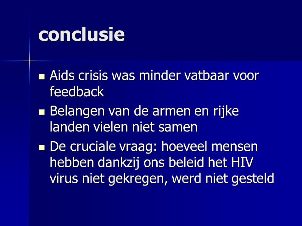 conclusie Aids crisis was minder vatbaar voor feedback Aids crisis was minder vatbaar voor feedback Belangen van de armen en rijke landen vielen niet