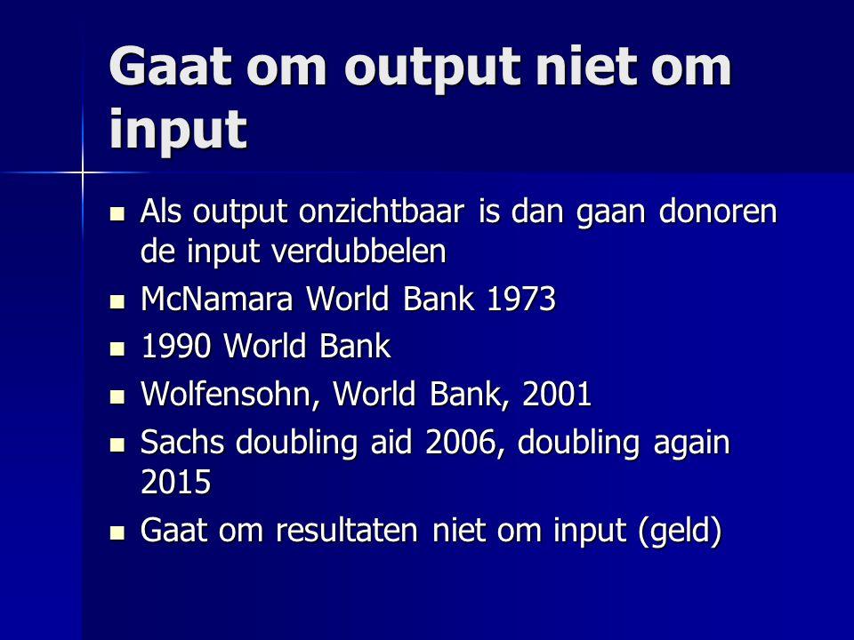 Gaat om output niet om input Als output onzichtbaar is dan gaan donoren de input verdubbelen Als output onzichtbaar is dan gaan donoren de input verdu