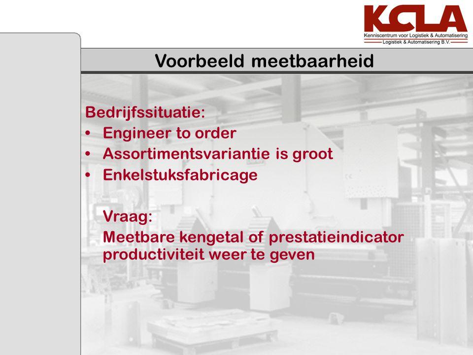 Voorbeeld meetbaarheid Bedrijfssituatie: Engineer to order Assortimentsvariantie is groot Enkelstuksfabricage Vraag: Meetbare kengetal of prestatieind