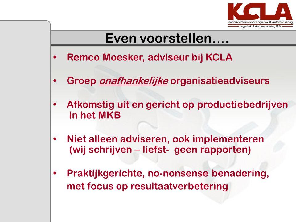 Even voorstellen …. Remco Moesker, adviseur bij KCLA Groep onafhankelijke organisatieadviseurs Afkomstig uit en gericht op productiebedrijven in het M