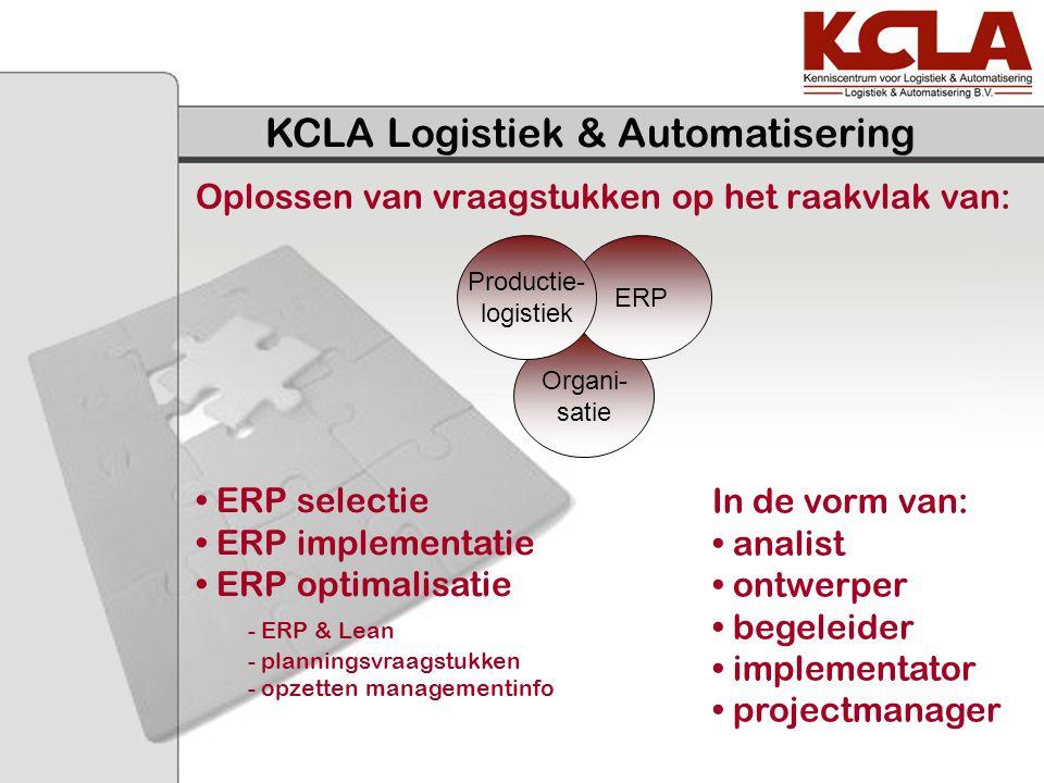 Oplossen van vraagstukken op het raakvlak van: KCLA Logistiek & Automatisering Organi- satie ERP Productie- logistiek In de vorm van: analist ontwerpe