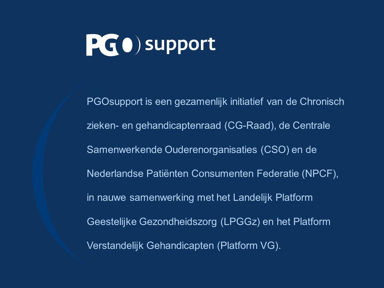 PGOsupport is een gezamenlijk initiatief van de Chronisch zieken- en gehandicaptenraad (CG ‑ Raad), de Centrale Samenwerkende Ouderenorganisaties (CSO