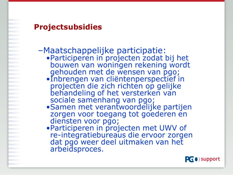 Projectsubsidies –Maatschappelijke participatie: Participeren in projecten zodat bij het bouwen van woningen rekening wordt gehouden met de wensen van