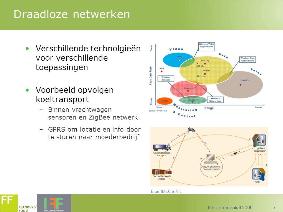 Draadloze netwerken Verschillende technolgieën voor verschillende toepassingen Voorbeeld opvolgen koeltransport –Binnen vrachtwagen sensoren en ZigBee netwerk –GPRS om locatie en info door te sturen naar moederbedrijf IFF confidential 20097 Bron: IMEC & VIL