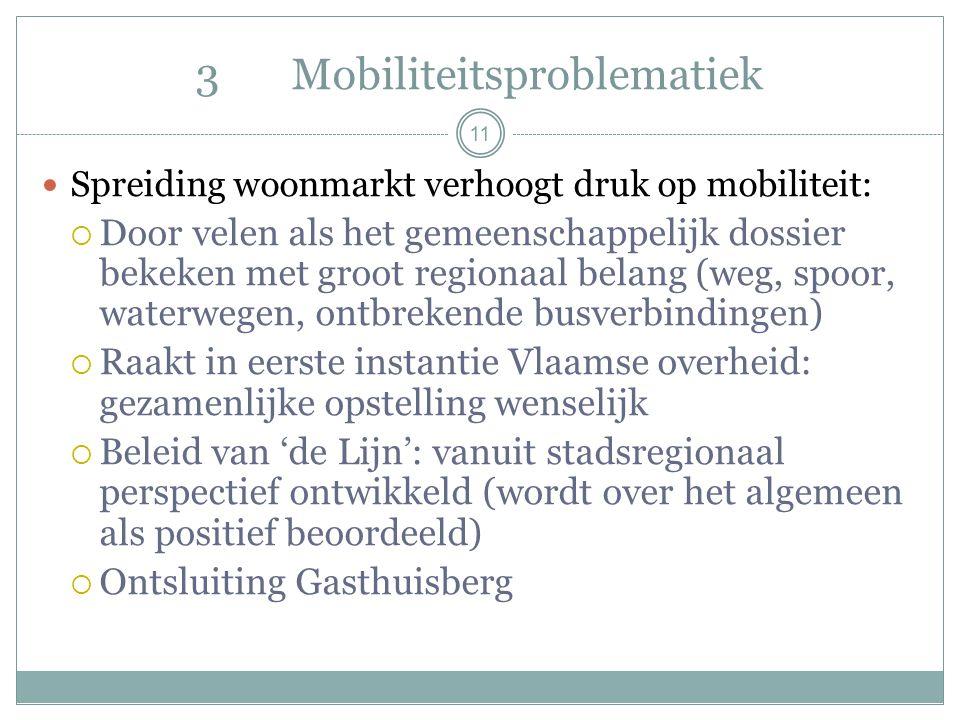 11 3Mobiliteitsproblematiek Spreiding woonmarkt verhoogt druk op mobiliteit:  Door velen als het gemeenschappelijk dossier bekeken met groot regionaal belang (weg, spoor, waterwegen, ontbrekende busverbindingen)  Raakt in eerste instantie Vlaamse overheid: gezamenlijke opstelling wenselijk  Beleid van 'de Lijn': vanuit stadsregionaal perspectief ontwikkeld (wordt over het algemeen als positief beoordeeld)  Ontsluiting Gasthuisberg