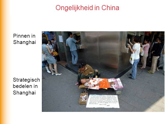 Pinnen in Shanghai Strategisch bedelen in Shanghai Ongelijkheid in China