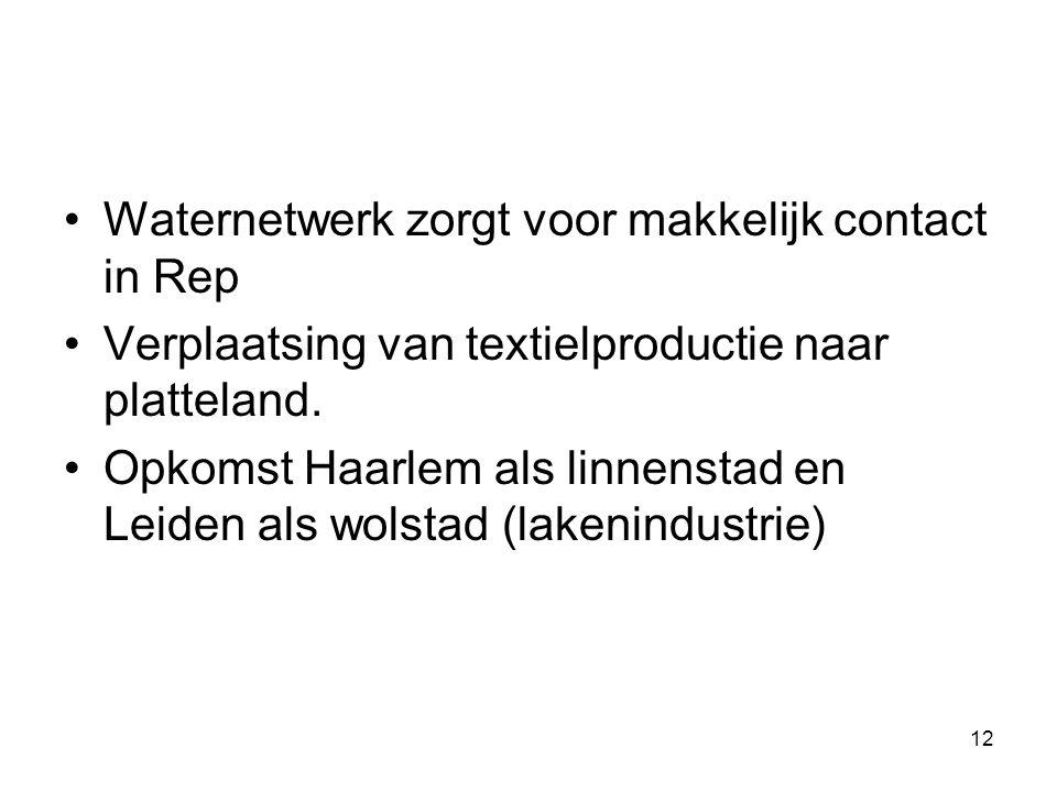 Waternetwerk zorgt voor makkelijk contact in Rep Verplaatsing van textielproductie naar platteland. Opkomst Haarlem als linnenstad en Leiden als wolst