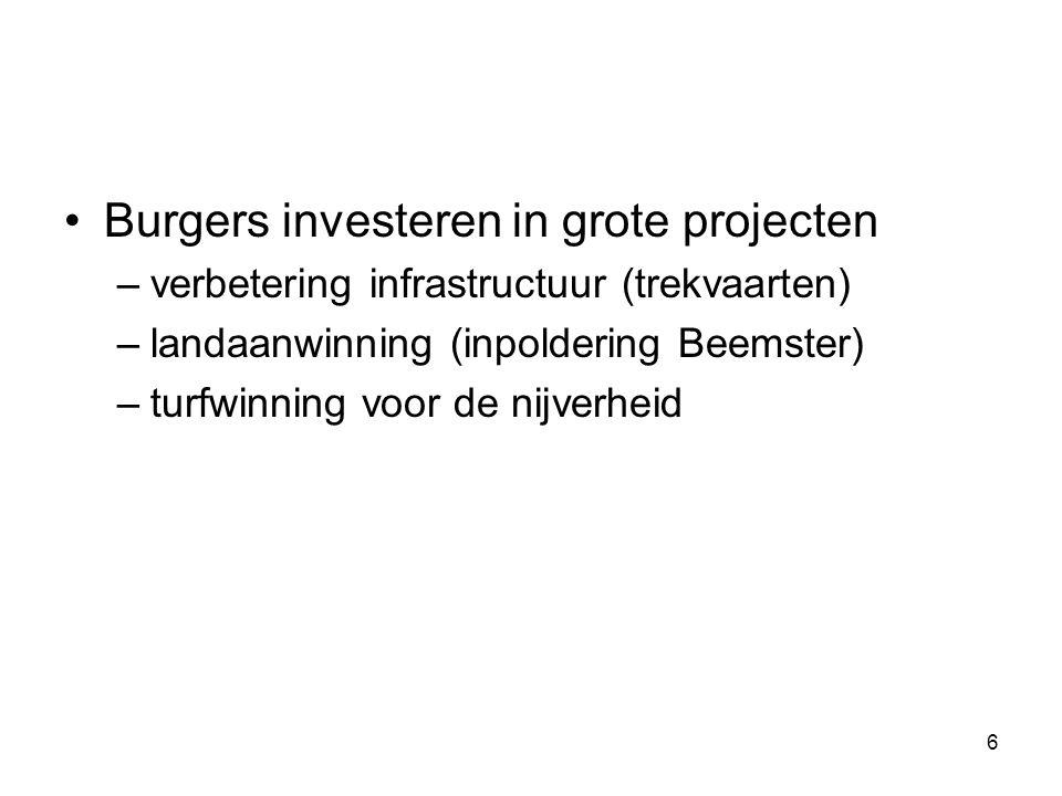 Burgers investeren in grote projecten –verbetering infrastructuur (trekvaarten) –landaanwinning (inpoldering Beemster) –turfwinning voor de nijverheid