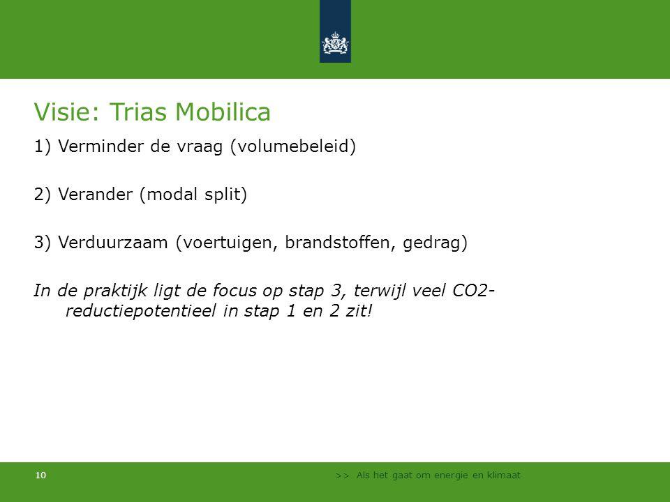 >> Als het gaat om energie en klimaat 10 Visie: Trias Mobilica 1) Verminder de vraag (volumebeleid) 2) Verander (modal split) 3) Verduurzaam (voertuig
