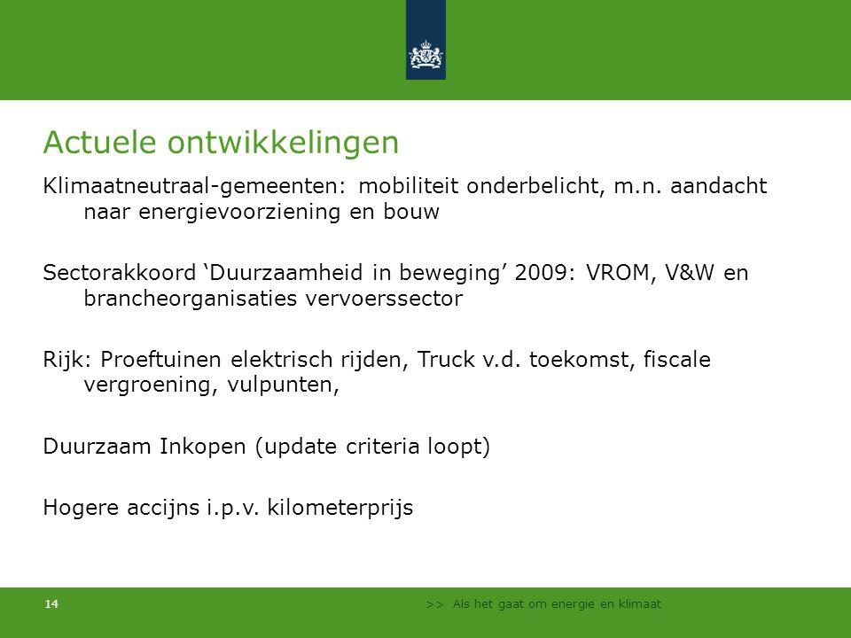 >> Als het gaat om energie en klimaat 14 Actuele ontwikkelingen Klimaatneutraal-gemeenten: mobiliteit onderbelicht, m.n. aandacht naar energievoorzien
