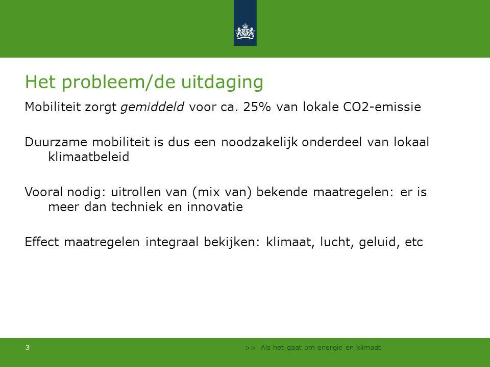 3 Het probleem/de uitdaging Mobiliteit zorgt gemiddeld voor ca. 25% van lokale CO2-emissie Duurzame mobiliteit is dus een noodzakelijk onderdeel van l