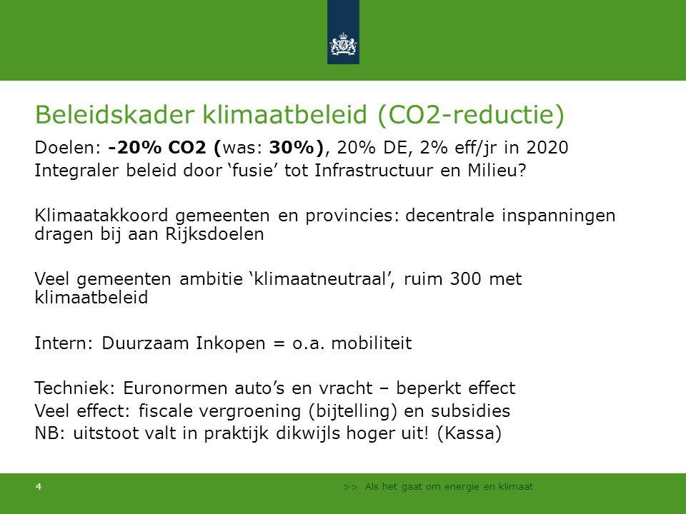 >> Als het gaat om energie en klimaat 4 Beleidskader klimaatbeleid (CO2-reductie) Doelen: -20% CO2 (was: 30%), 20% DE, 2% eff/jr in 2020 Integraler be